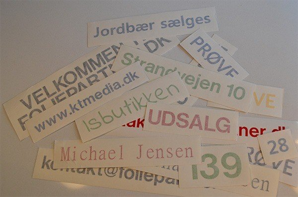 foliebogstaver og selvklæbende bogstaver